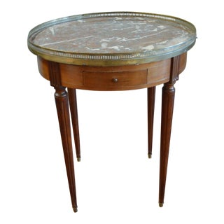 Louis XVI Style Mahogany Bouillotte Table With Original Marble Top For Sale