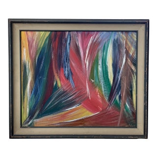 Vintage Abstract Framed Painting For Sale