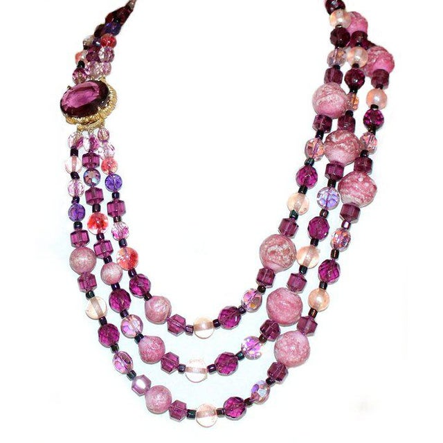1950/60s Vintage Multi Strand Pink and Purple Necklace With Jeweled Clasp For Sale - Image 4 of 6