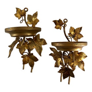 Hollywood Regency Vintage Gilt Gold Leaf Sconces With Brass Leaves - a Pair For Sale