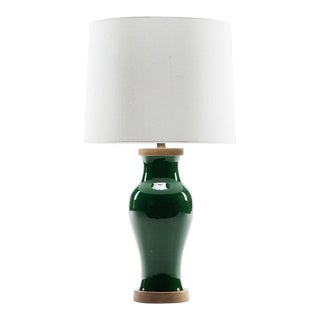 Lawrence & Scott Gabrielle Baluster Porcelain Lamp in Racing Green With Walnut Base For Sale