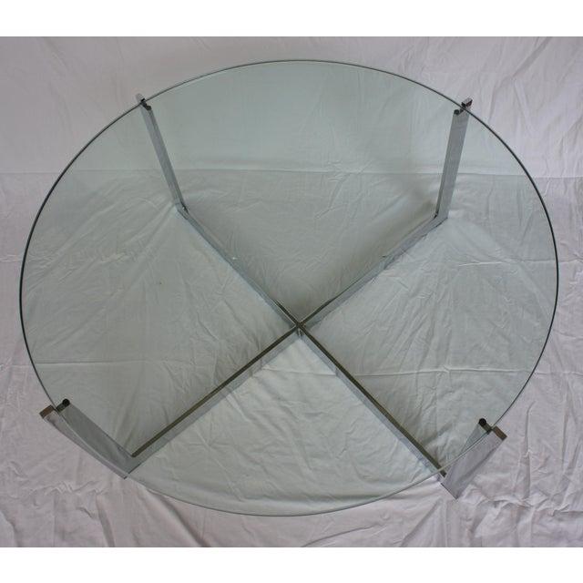 Milo Baughman Chrome & Glass Round Coffee Table - Image 3 of 11