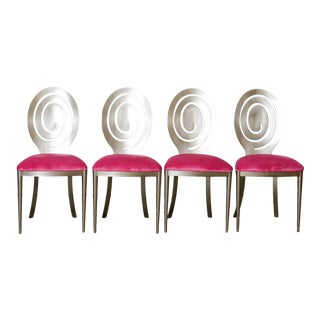 1980s Swirling Dining Chairs in Pink Velvet New Upholstery - Set of 4 For Sale