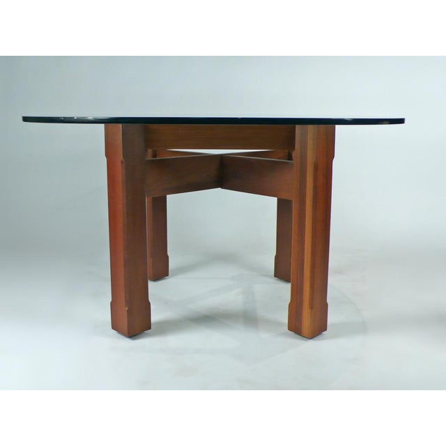 Custom Glass Top Dining Table For Sale - Image 4 of 7