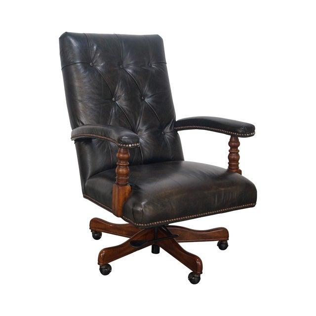 Tufted Leather Executive Office Arm Chair - Image 1 of 8