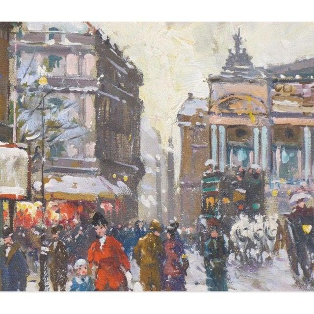 Canvas 1950s Vintage Francois Gerome Parisian Scene Paintings - A Pair For Sale - Image 7 of 12