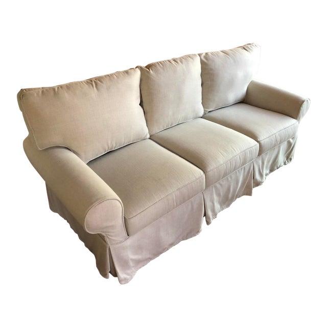 Pottery Barn Sunbrella®️ Slub Tweed Pebble Slipcovered Sofa For Sale