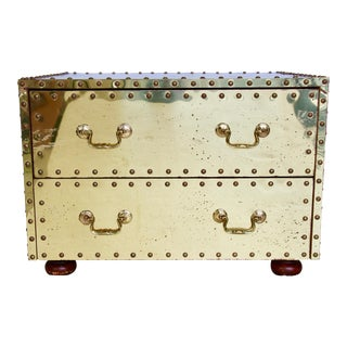 Sarreid- Style Studded Brass Chest For Sale