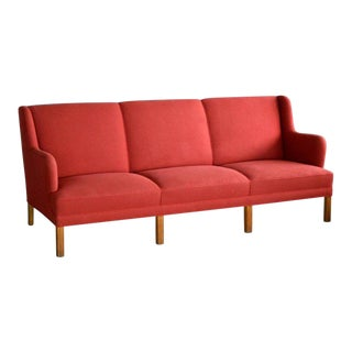 Kaare Klint Style Classic 1950 Danish Three-Seat Sofa by Master Frits Henningsen For Sale