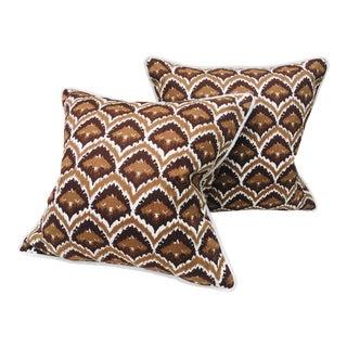 Mid Century Bob Collins Vintage Cotton Print Pillows - a Pair For Sale