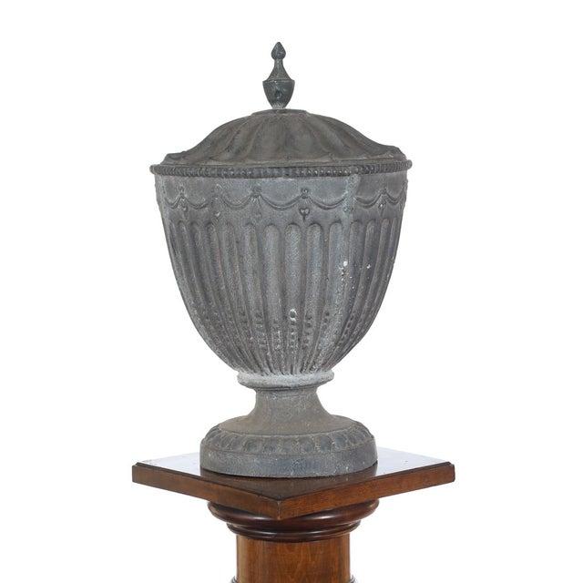 Renaissance Antique Large Outdoor Lidded Metal Urn For Sale - Image 3 of 9