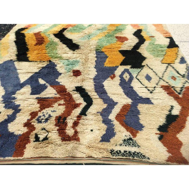 White Multi-Color Moroccan Rug - 8′3″ × 11′5″ For Sale - Image 8 of 8
