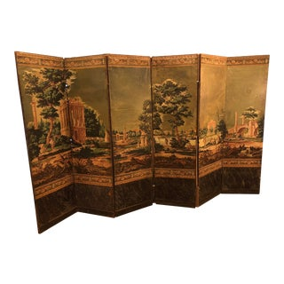 Vintage Zuber Wallpaper 6 Panel Screen For Sale