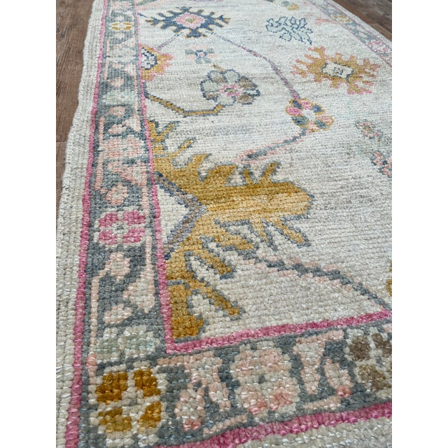 """Bellwether Rugs"" Colorful Oushak Runner For Sale - Image 4 of 5"
