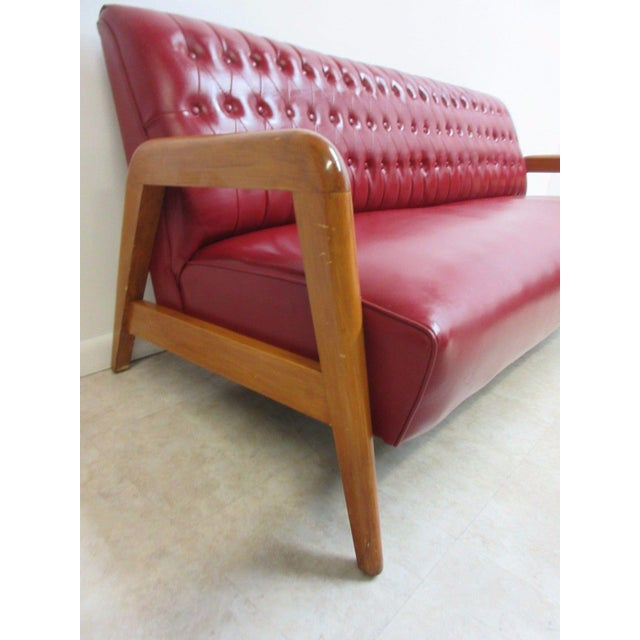 Red Vintage Heywood Wakefield Tufted Mid Century Sofa Settee For Sale - Image 8 of 11