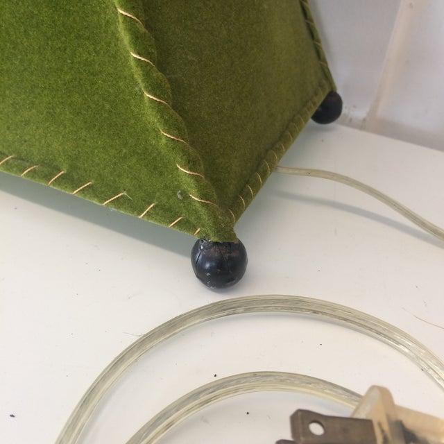 Green Mid-Century Moss Green Velvet Table Lamp For Sale - Image 8 of 11