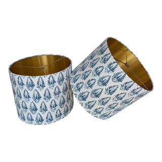 Custom Blue Patterned Drum Lampshades - a Pair For Sale