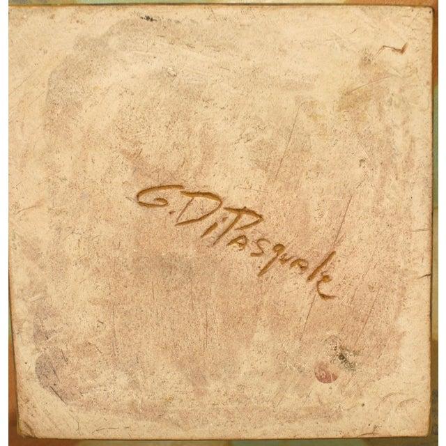 "American Post-War Design glazed ceramic vase ""Roman"" stripe with short flared neck (signed: GARY DI PASQUALE)"