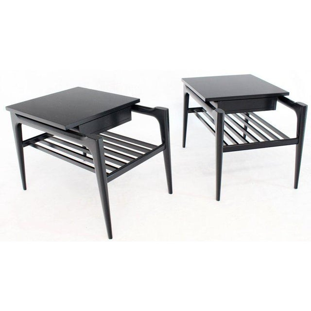 Pair of Black Ebonised One Drawer End Nightstands With Magazine Rack Sculptural For Sale In New York - Image 6 of 13