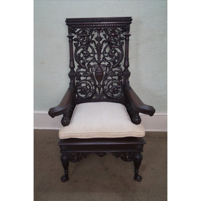 Antique 19th Century Carved Oak Throne Chair - Image 9 of 10