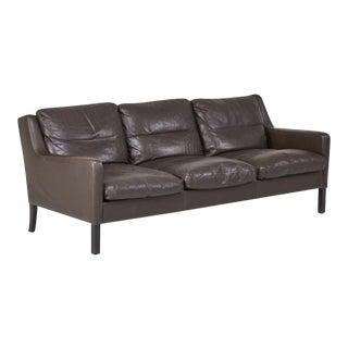 Børge Mogensen-Style Danish Modern Leather Sofa