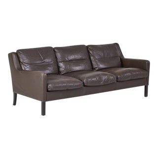 Danish Modern Style Glove-Soft Leather Sofa For Sale