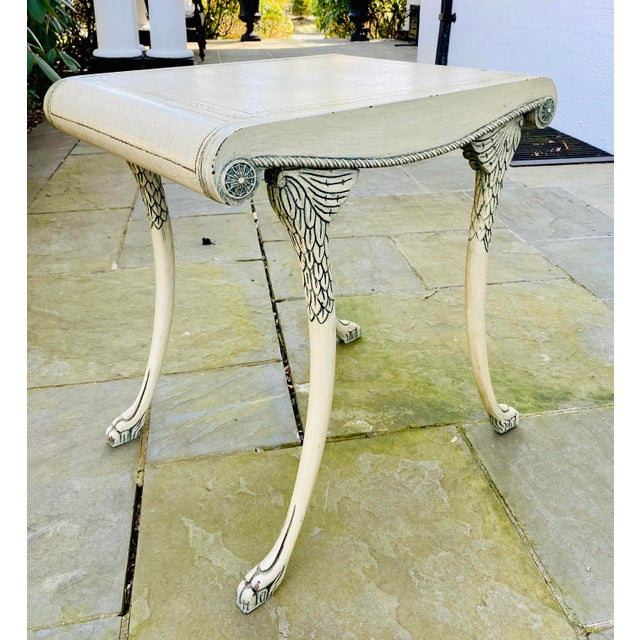 Antique White English Scroll Table With Faux Painted Detail For Sale - Image 8 of 11