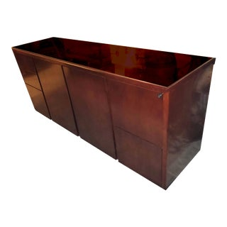 Custom Mid-Century Cherry Wood Laminate Locking Storage Credenza With Glass Top For Sale