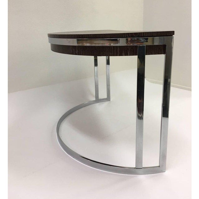 Cerused Oak and Chrome Demilune Desk by Milo Baughman - Image 8 of 11