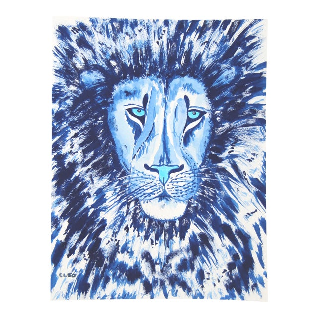 Lion in Blue Painting by Cleo Plowden For Sale