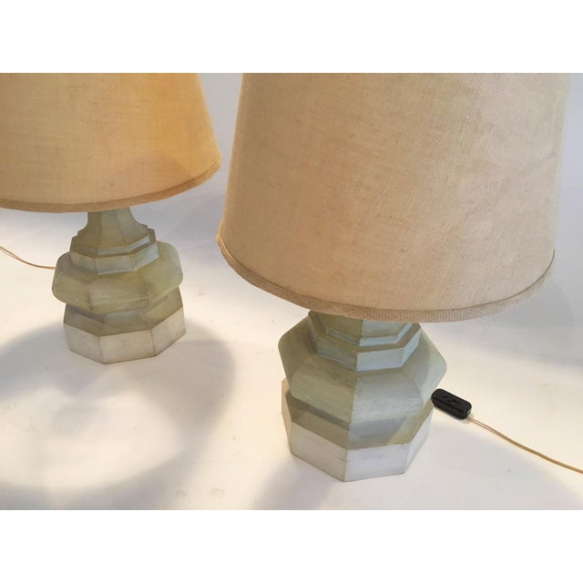 Mid-Century Carved Table Lamps - A Pair - Image 6 of 6