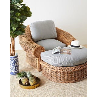 Michael Taylor Style Wicker Lounge Chairs With Ottoman Preview