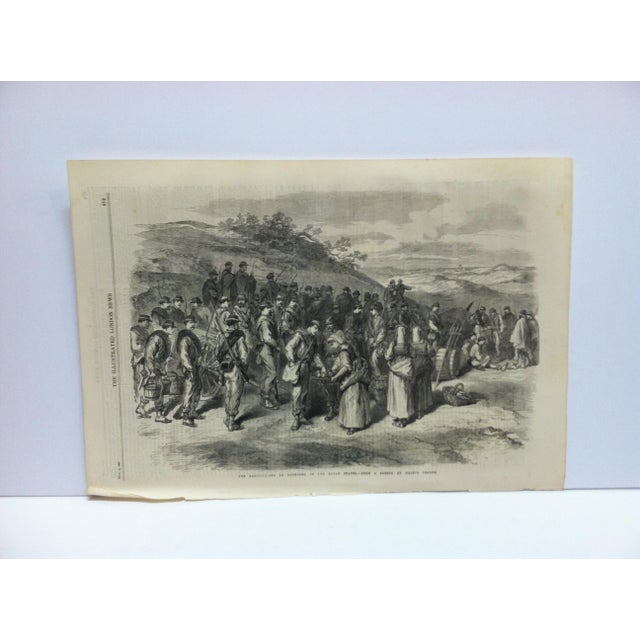"1867 Antique ""The Garibaldians at Bagnorea - in the Roman States"" The Illustrated London News Print For Sale - Image 4 of 4"