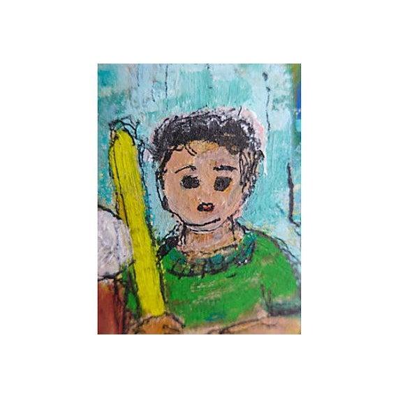 Original Oil Painting on Paper of Sandlot Kids - Image 5 of 6