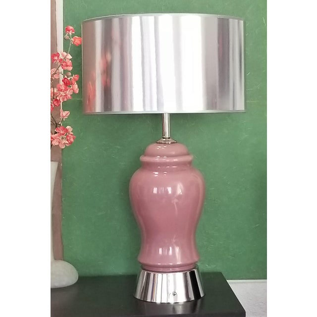 Vintage Pink Glass and Chrome Table Lamps - a Pair - Restored - Mid Century Modern Palm Beach Boho Chic Murano Style For Sale - Image 11 of 12