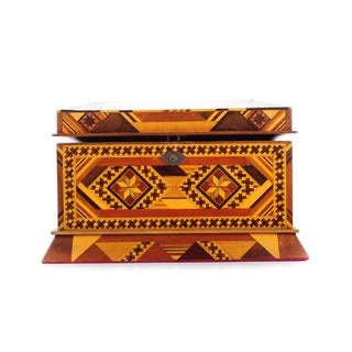 Vintage Geometrical Design Wooden Jewelry Box For Sale