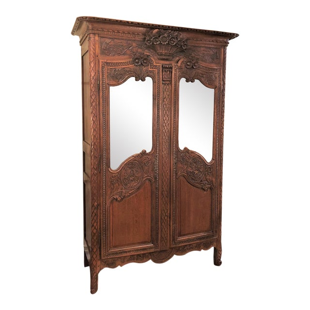 "Antique French Beautifully Carved Elm Wood and Beveled Mirror ""Armoire De Marriage"" With Bird Motifs. For Sale"