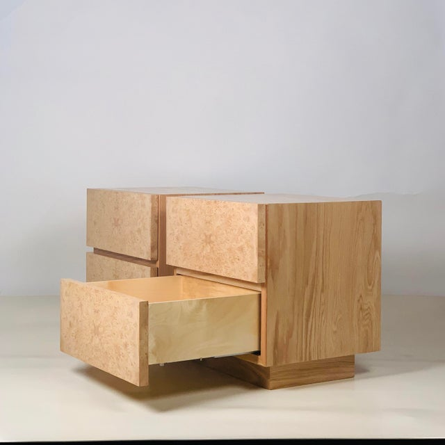 Minimalist 'Amboine' Burl Wood Nightstands by Design Frères - a Pair For Sale In Los Angeles - Image 6 of 12