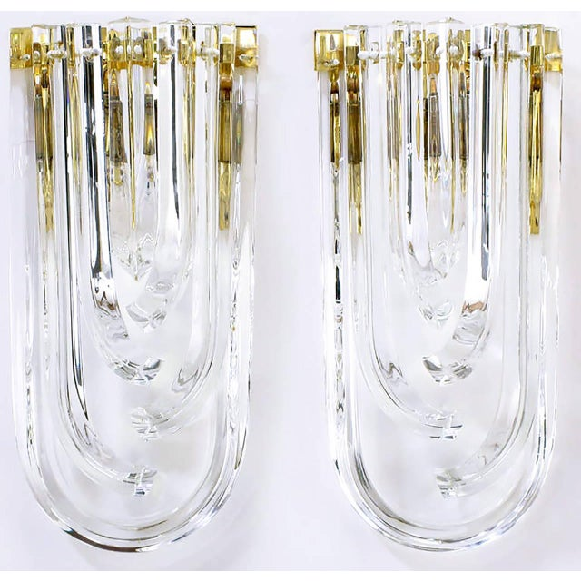 Venini Pair of Venini Bent Crystal and Brass Sconces For Sale - Image 4 of 9