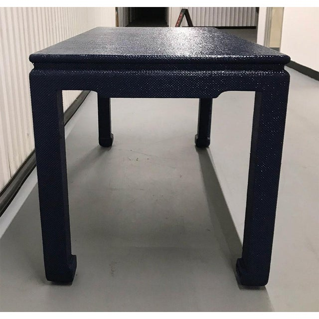 1970s Raffia-Wrapped Blue Lacquered Desk or Console For Sale In Atlanta - Image 6 of 13