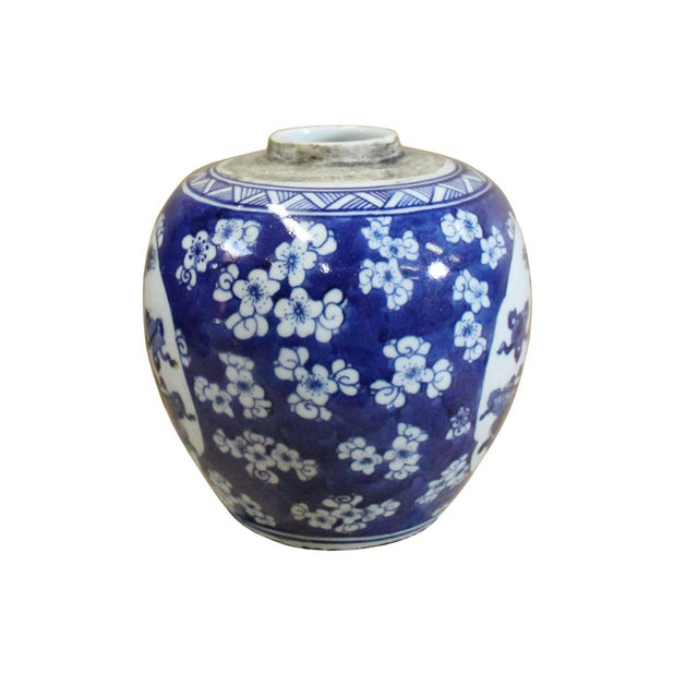 Asian Chinese Oriental Handpaint Small Blue White Porcelain Ginger Jar For Sale - Image 3 of 7