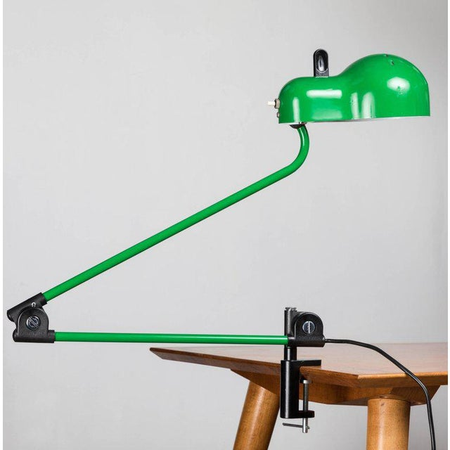 Joe Colombo 'Topo' Task Light for Stilnovo, circa 1970s. Executed in green enameled metal and plastic with chrome and...