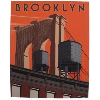 2019 Modern Retro Travel Poster, Brooklyn Bridge For Sale