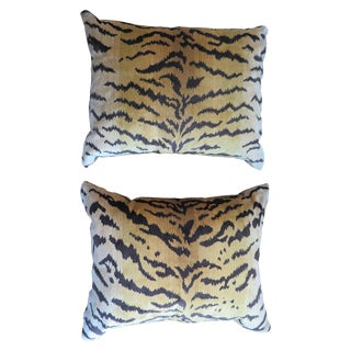 Scalamandré Le Tigre Silk Velvet Pillows For Sale