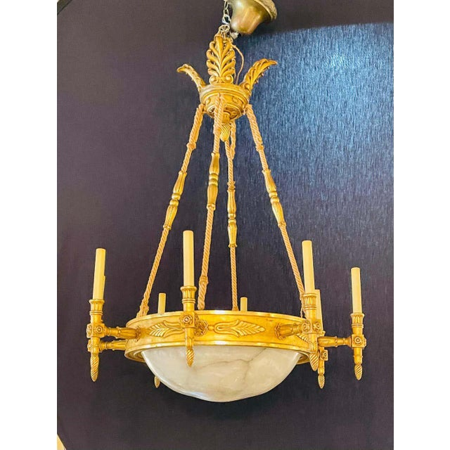 Neoclassical 19th-20th Century Alabaster and Giltwood Chandelier For Sale - Image 3 of 13