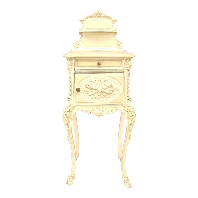 French Victorian White Bedside Commode For Sale