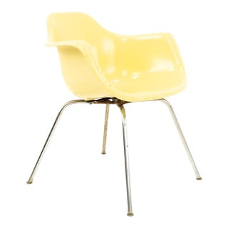 Eames Style Krueger Metal Products Mid Century Yellow Fiberglass Shell Chair For Sale