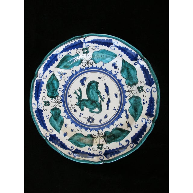 Italian Majolica Assisi Blue Green Animal Flower Leaf Theme Plate Set of 4 For Sale In Portland, OR - Image 6 of 8