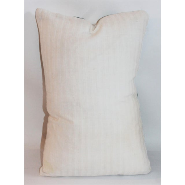Blue Crewel Work Pillow For Sale - Image 5 of 6