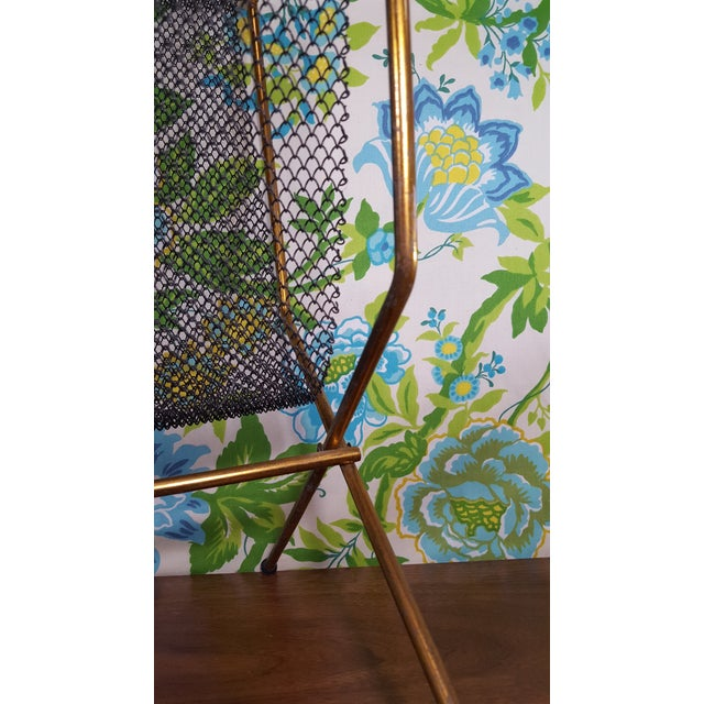Copper Mid-Century Modernist Mesh Log Holder or Magazine Rack For Sale - Image 7 of 8